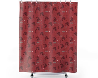 Nuclear Cranberry Atomic Shower Curtains