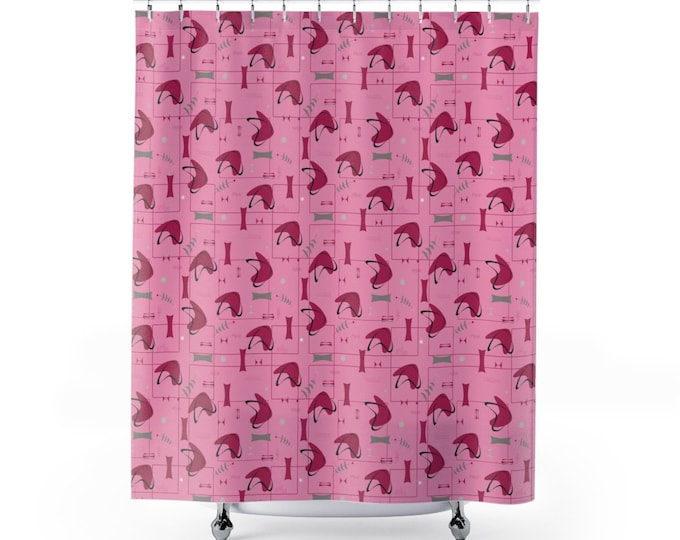 Galactic Strawberry Shower Curtain