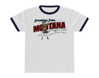 Greetings from Montana Ringer Tee Navy Rings Red Rings