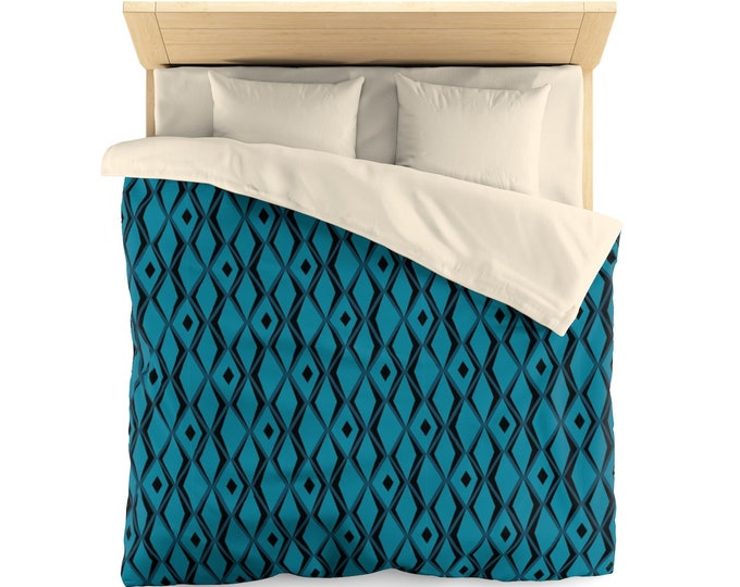 Tiki Microfiber Duvet Cover In Blueberry Queen Size
