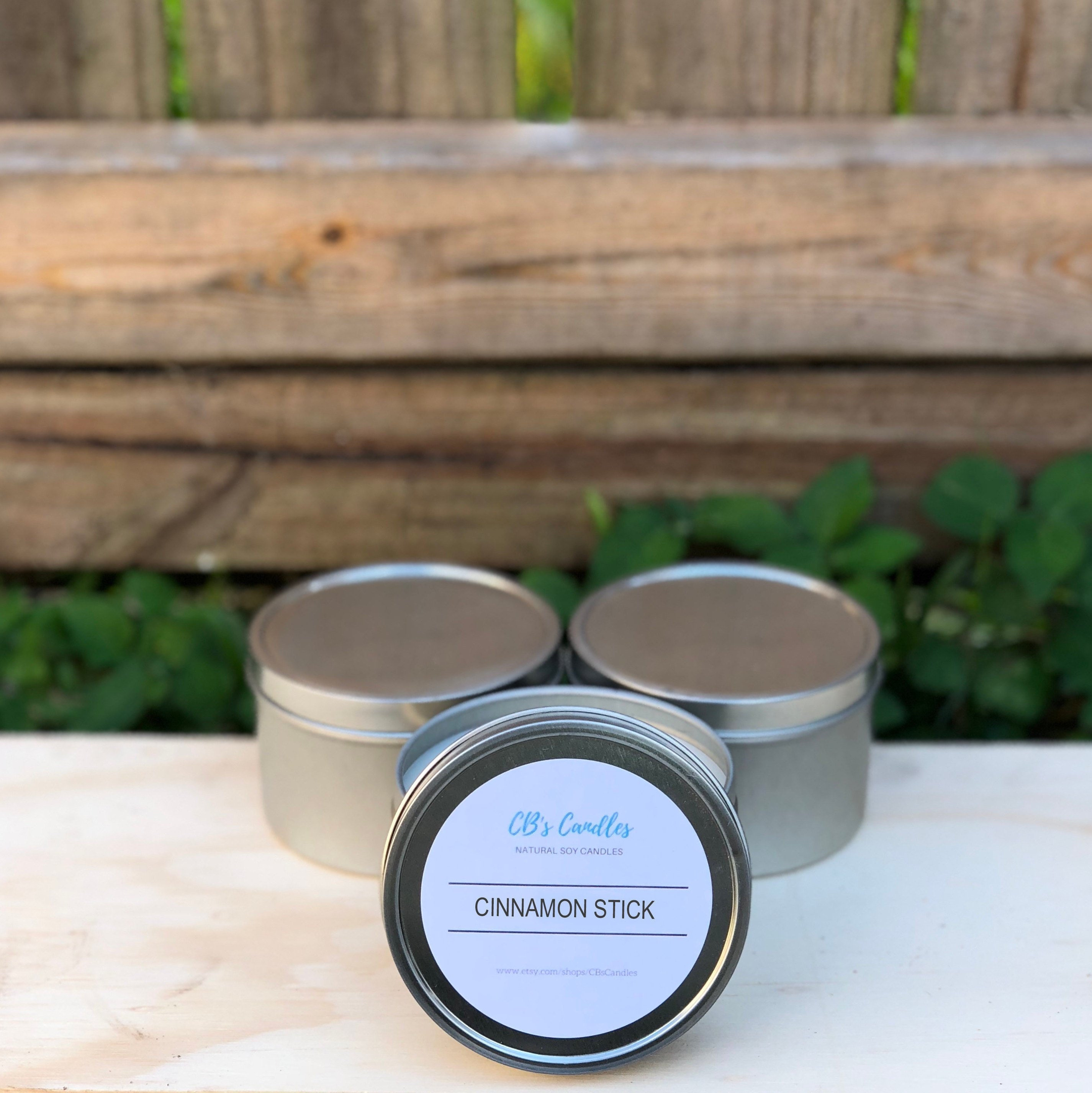 Handmade Soy Candle 8 Oz Tin Cinnamon Stick Fragrance Natural Wax Scented Candles Vanilla