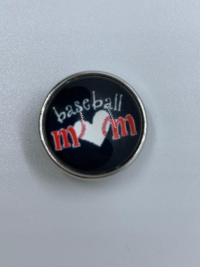 Snap Jewelry 18mm Baseball Mom Heart Snap