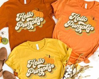 Hello Pumpkin Shirt - Retro Fall Shirt - Pumpkin Patch Shirt - Womens Fall Tee - Matching Fall Shirts - Autumn T Shirt - Pumpkin Tee
