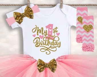 fcffcbe7f707 Baby Girl 1st Birthday - My First Birthday Girl Outfit - Cake Smash Outfit  - Baby Tutu Outfit - Birthday Tutu - Baby s First Tutu