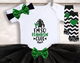 I'm So Franken Cute Onesie® - Baby Girl's Halloween Outfit - 1st Halloween Tutu Set - Girls Halloween Tee - First Halloween Newborn Top