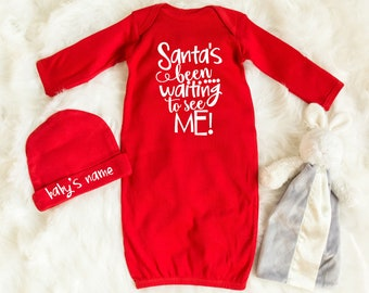 Santa Baby Pajamas - My 1st Christmas - Christmas Sleeper - Newborn Gown - Coming Home Outfit - Beanie with Name - Baby Layette Set