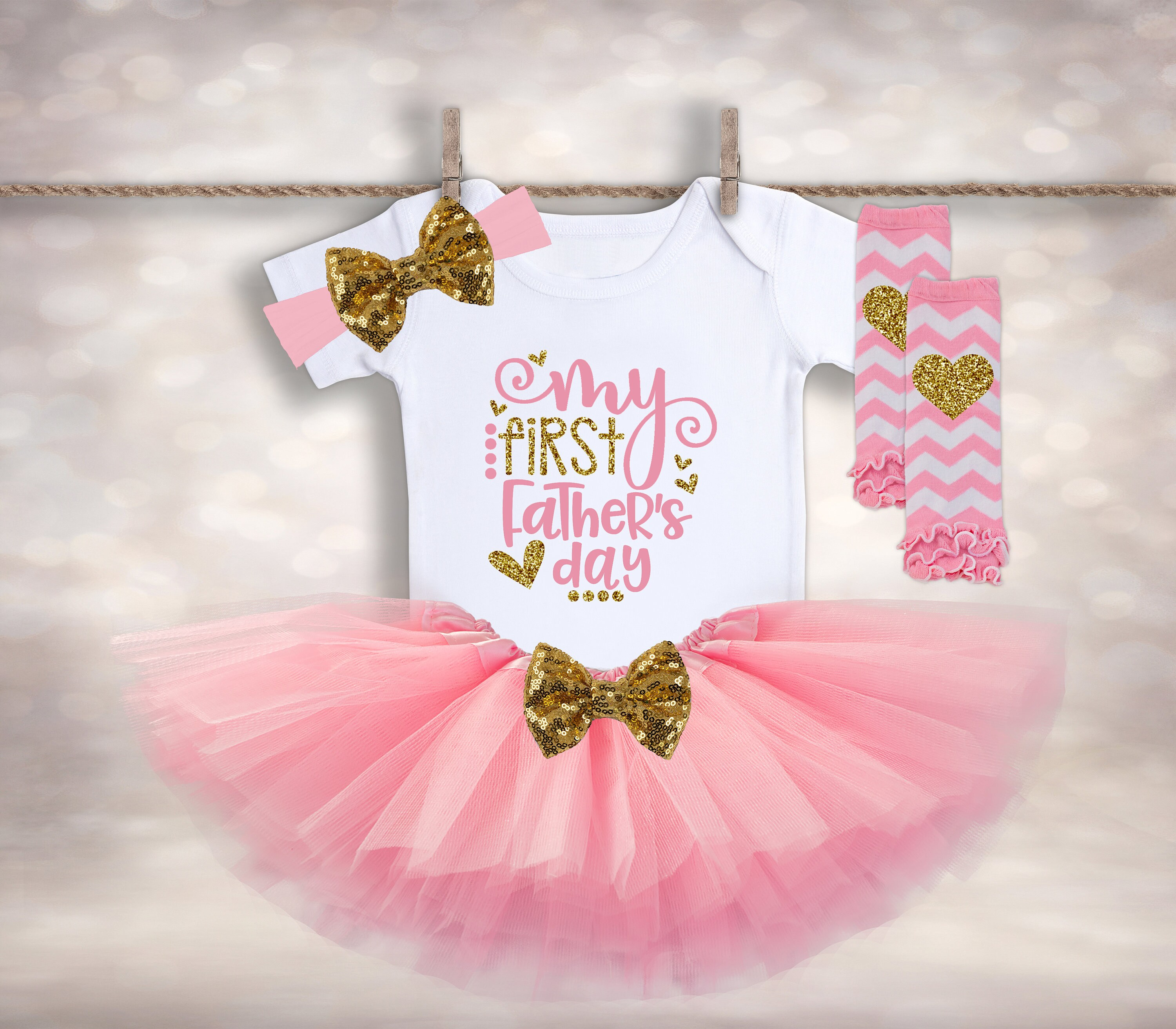 1st Father/'s Day Gift Baby Girl Father/'s Day Tutu Outfit New Dad Gift 1st Father/'s Day Gift Baby Girl My First Father/'s Day Outfit