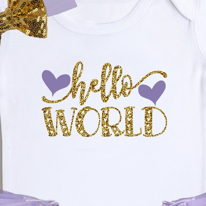 Newborn Bodysuit Baby Shower Gift Birthday Tutu Baby Girl Outfit Hello World Baby Outfit Newborn Tutu Set Take Home Outfit