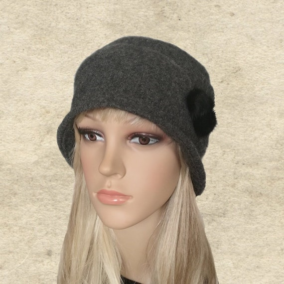 3b3c9b46f1cd1 Felted cloche hat Winter felt hats Felted wool hats Small