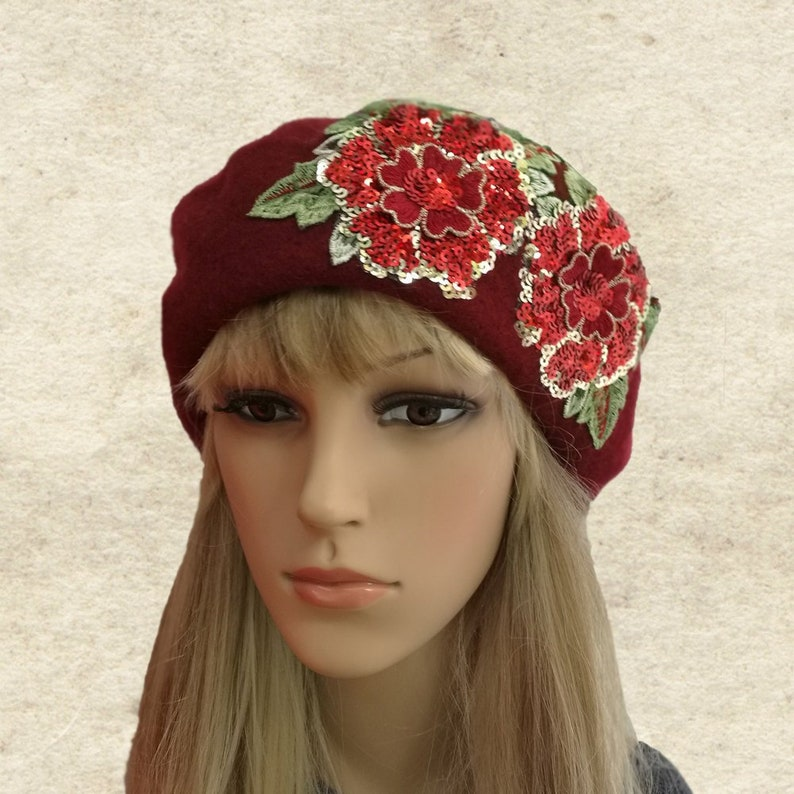 768653f3d629a Felted wool beret Women s winter beret Womens french