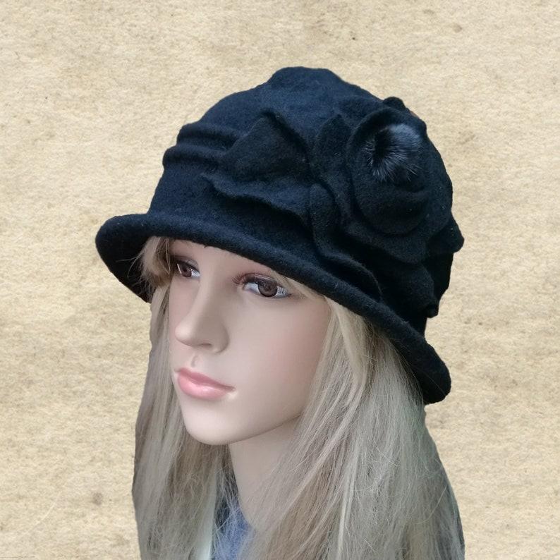 11a62c2ba Women's winter hat, Black cloche hats, Winter felted hat, Felted wool hat,  Cloche felt hat, Wool brimmed hat, Winter brim hats