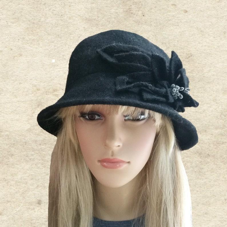 413af576ff4 Women s felted hat Black Felt wool hat Winter women hat