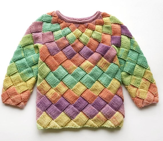 custom knit sweater, rainbow sweater, Light knit sweater, Sweater for girl, entrelac pullover, pullover for girl, Jumper Interweave