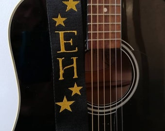 """Personalised Guitar Strap Custom Adjustable Guitar Strap 2"""" wide Various Colours Gift *Fast Delivery*"""