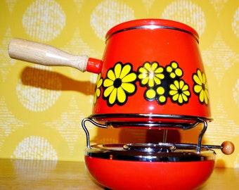 Fondue Set Lions email 70s in vintage pot country house Enamel shabby decoration rustic kitchen pot Deco nostalgia 60s