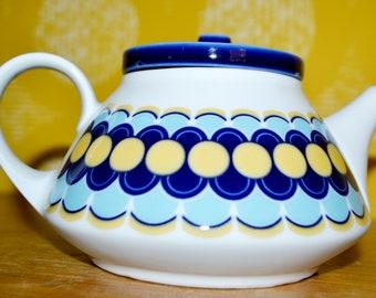 Vintage Teapot by Bareuther White /Blue/Yellow 70s Retro Mid Century Seventies WGP WGK