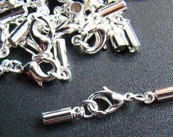 Silber Messing Endkappen Ø 4,5 und 5 mm mit Karabiner-Verschluss und Kettchen