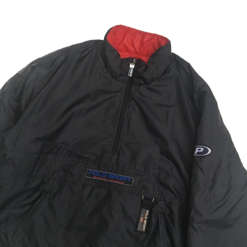 Vintage Polo Sport Reversible Halfzipper Down Jacket With Embroidery Spell Out Logo On Two Side