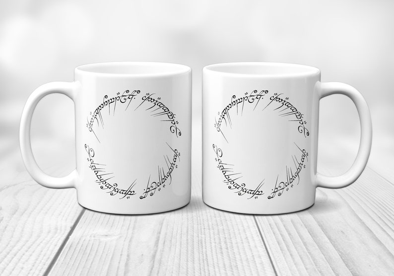 Lord The Rings Ceramic Of Coffee Inscription Ring Mug MugOne 7yvfgYb6