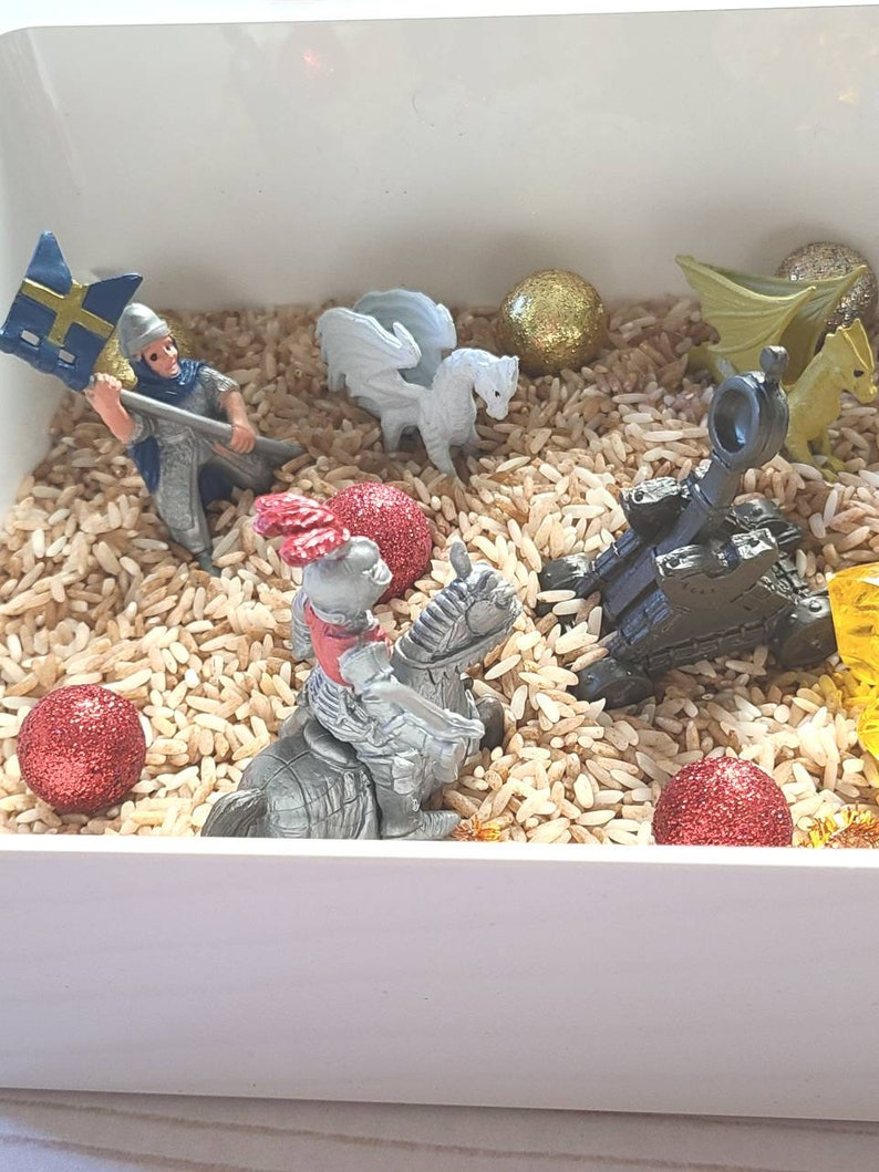 Perfect for ages 3-8 years Knights and Dragons Sensory Bin Sensory Play Busy Box Sensory Bin