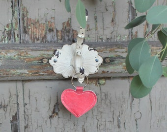 Key Ring Leather Heart