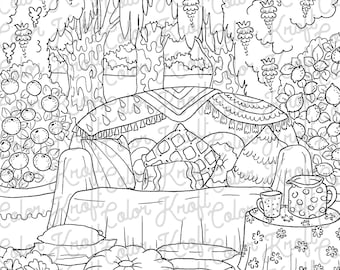 Country Garden Backyard Lounge Coloring Page Printable Digital Download