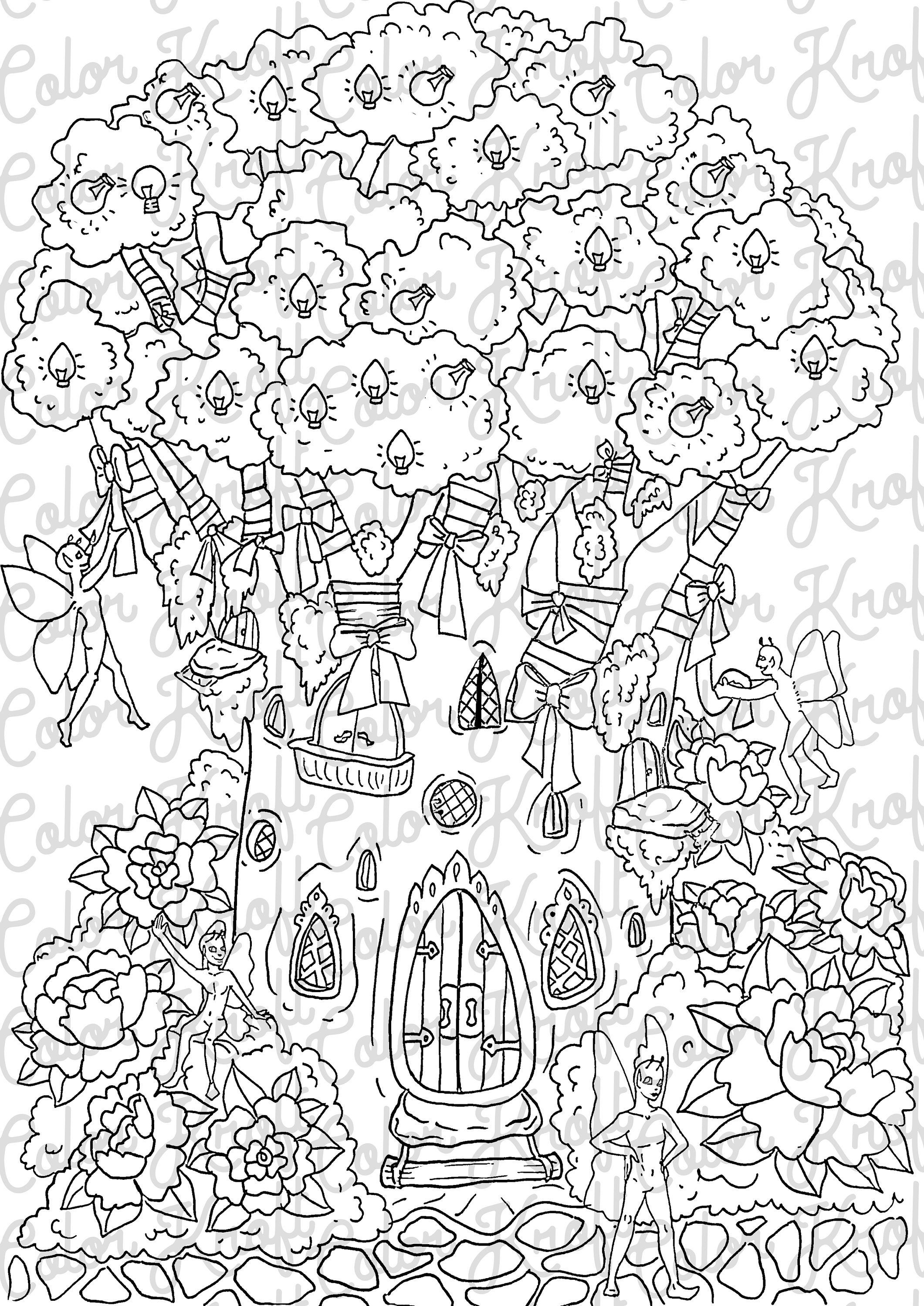 Fairy Garden Coloring Page // Fairy Tree Decorating Printable Coloring //  Digital Download Coloring Page