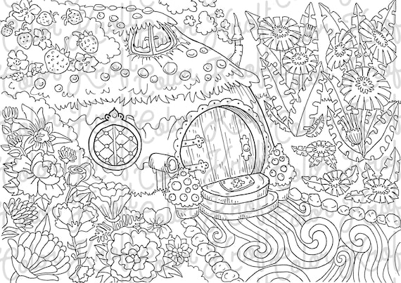 Fairy Garden Printable Coloring Page // Digital Download Color Pages