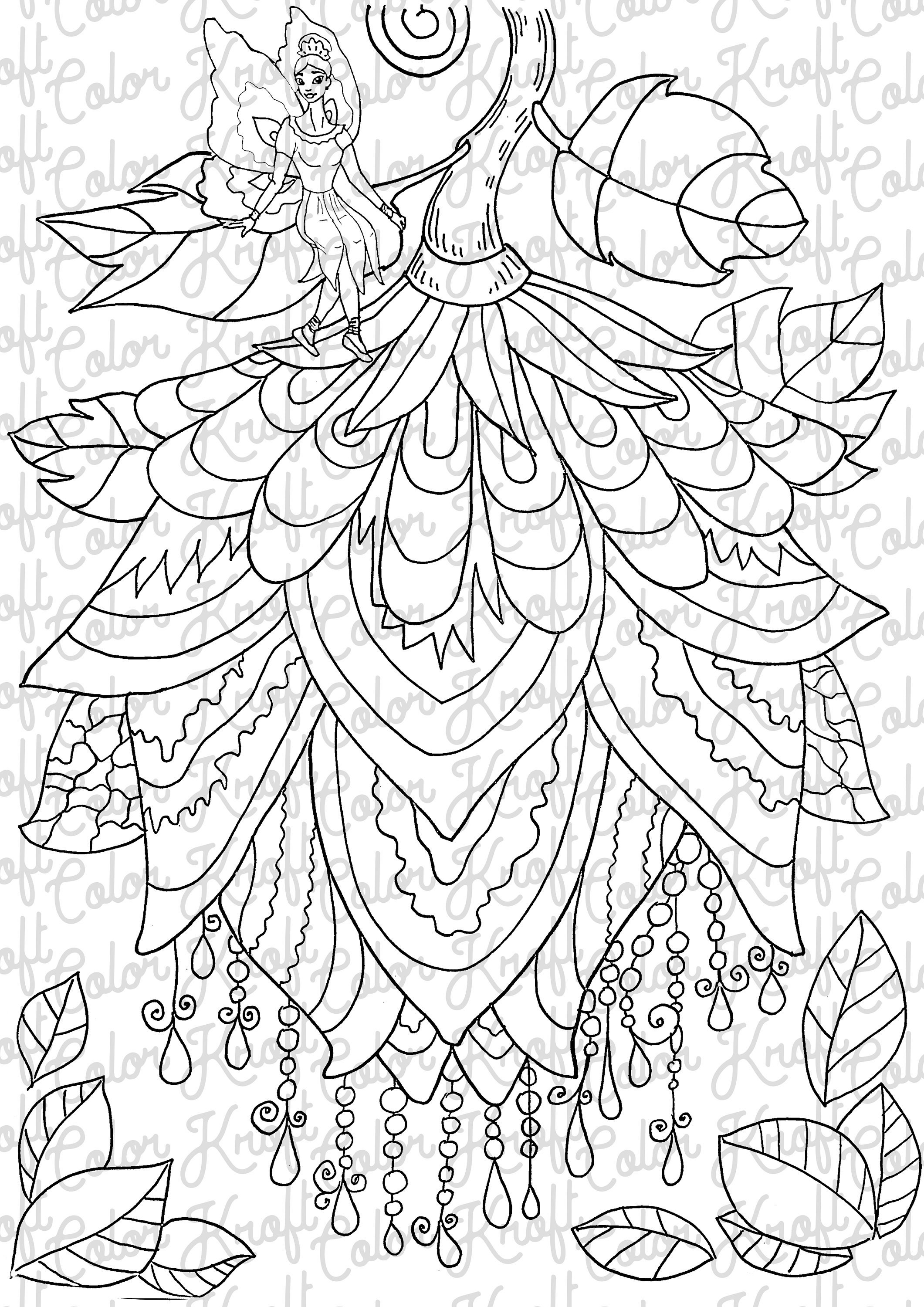 fairy garden coloring page printable coloring page etsy. Black Bedroom Furniture Sets. Home Design Ideas