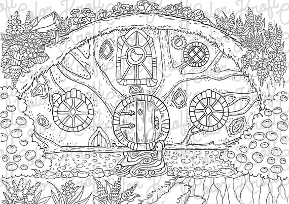 Hobbit Hole Coloring Page // Printable Coloring Page // Digital Download