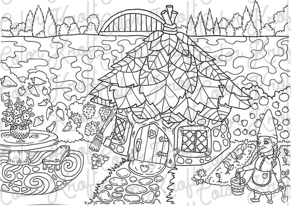 Gnome Home Coloring Page Printable Fairy Garden Coloring Digital Download Coloring Pages