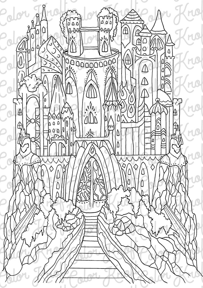 photo relating to Castle Printable known as Fairy Castle Printable Coloring Website page // Electronic Down load Coloration Web pages