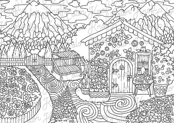 Gardener\'s Cabin in the Mountains // Coloring Page Printable // Digital  Download Coloring