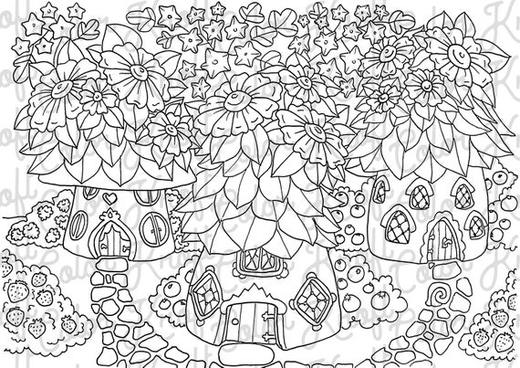 Fairy Garden Coloring Page // House of Fairies // Digital Download Color