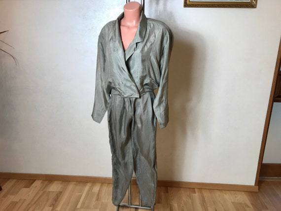 Silk vintage 90s suit, two piece set - jacket and
