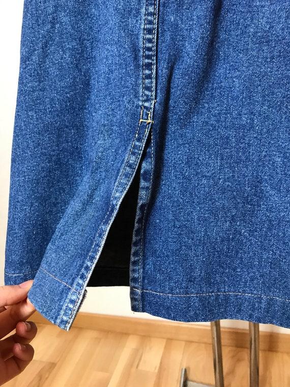 Vintage 90s denim skirt, blue jean cotton fabric,… - image 9