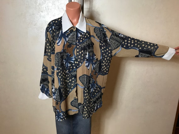 Vintage 70s women's blouse, absatrct print, brown