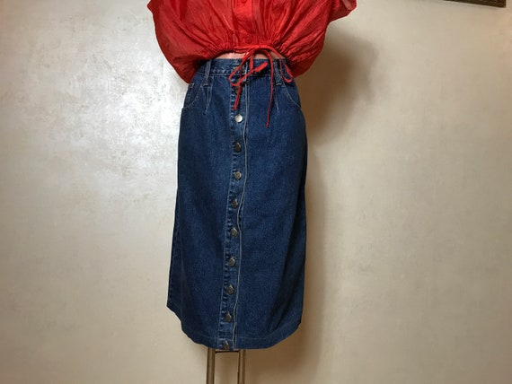 Vintage 90s denim skirt, blue jean cotton fabric,… - image 1