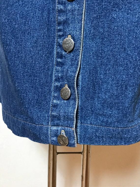 Vintage 90s denim skirt, blue jean cotton fabric,… - image 6