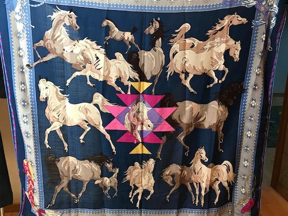 Vintage HERMES scarf, wool silk cashmere fabric, b