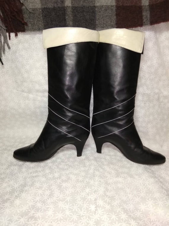 Boots with heels Black White Woman's Boots Lerther
