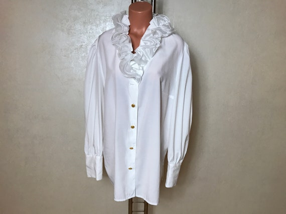 White vintage 80s blouse, large size, long sleeves