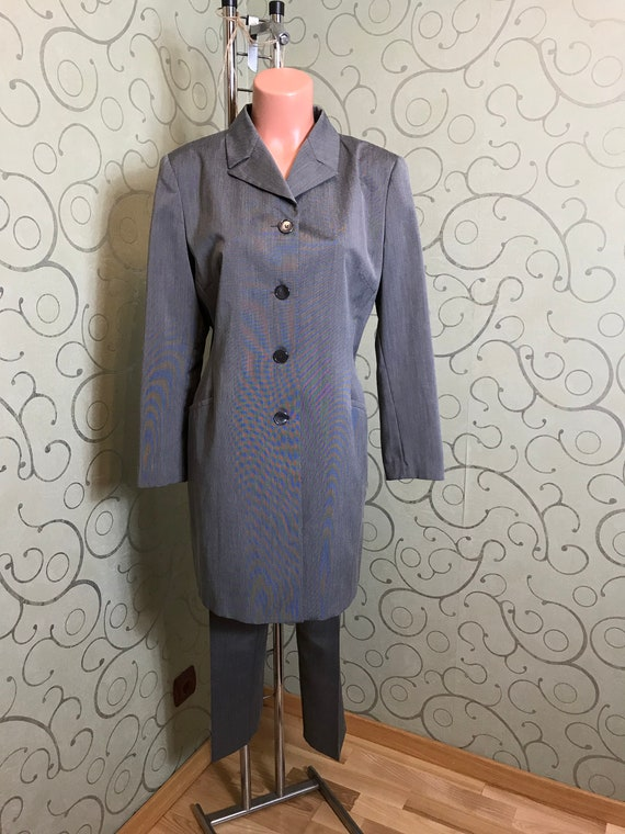 Vintage womens grey suit Medium size Long jacket a