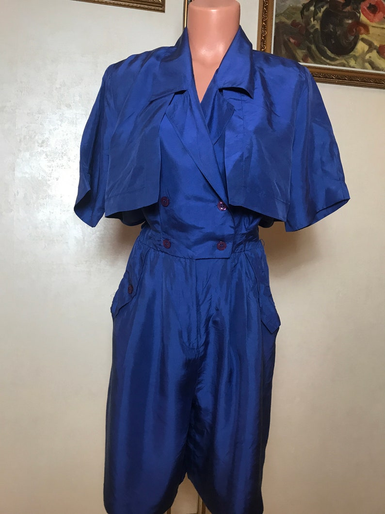 short sleeves summer romper silk fabric button up front above-the-knee length Blue vintage 80s romper shorts notched collar