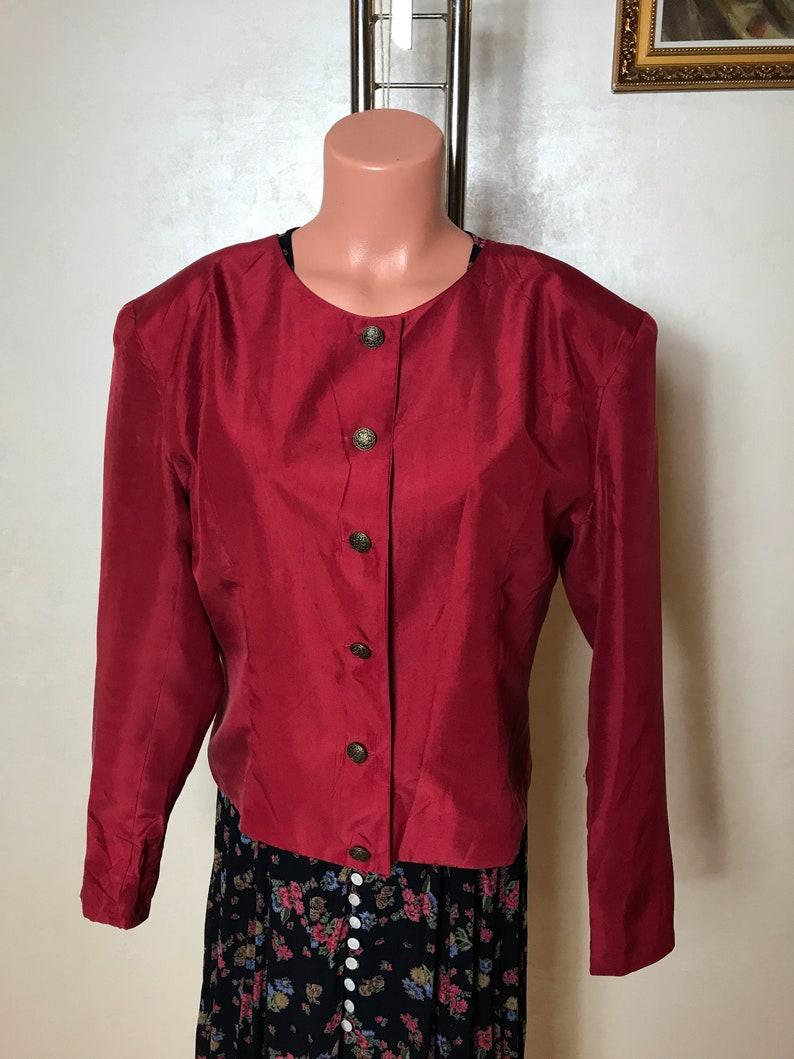 Red vintage 80s jacket light womens jacket crew neck long sleeves medium size chineze jacket silk fabric