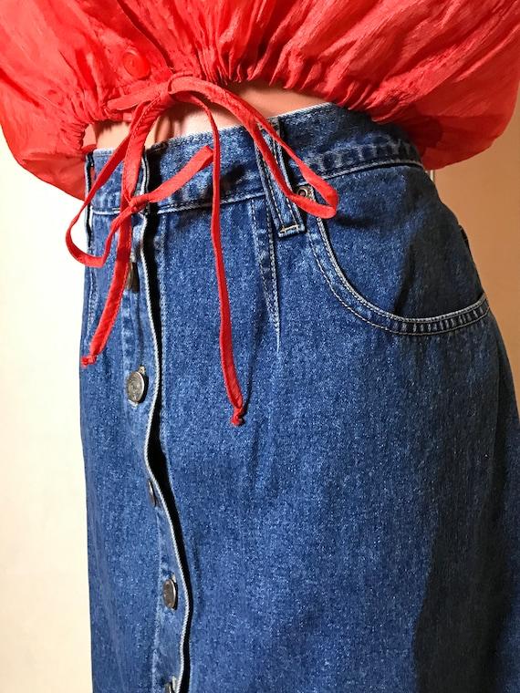 Vintage 90s denim skirt, blue jean cotton fabric,… - image 7