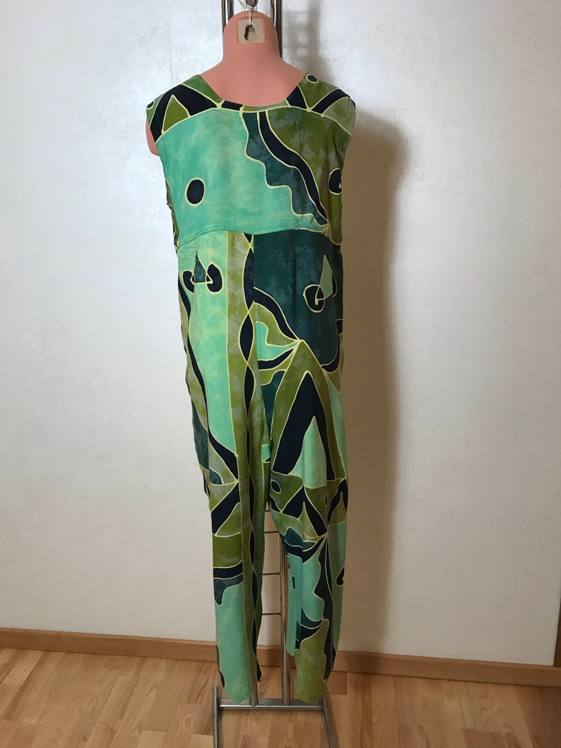 oversize large size Geen vintage overalls straight design batic viscose fabric in green shades