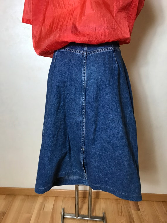 Vintage 90s denim skirt, blue jean cotton fabric,… - image 8