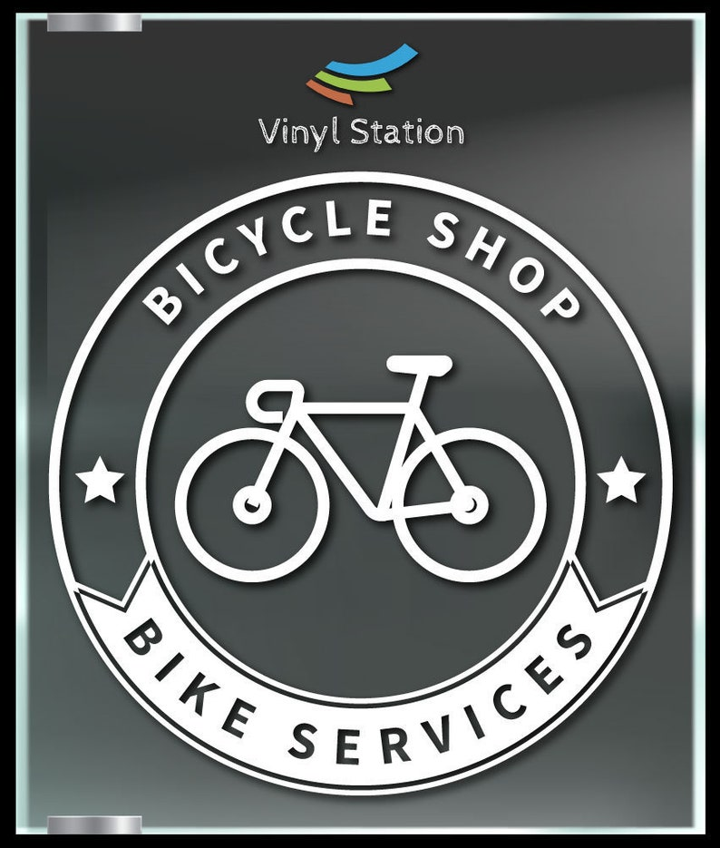 Bicycle Shop Bike Services Business Vinyl Decal Sign.
