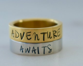 Adventure Awaits Ring, Stacked Rings, Adventure Ring, 5mm band, Silver or Gold Stainless Steel Ring